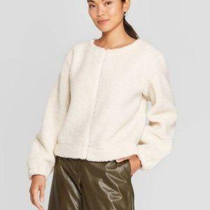 Prologue Shearling Sweatshirt Sweater NEW cream XL